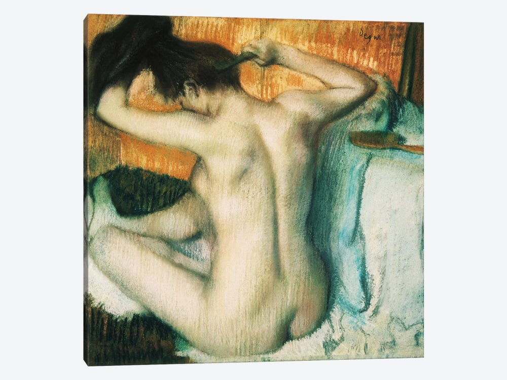 Woman Combing Her Hair 1-piece Art Print