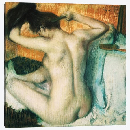 Woman Combing Her Hair Canvas Print #EDG2} by Edgar Degas Canvas Wall Art
