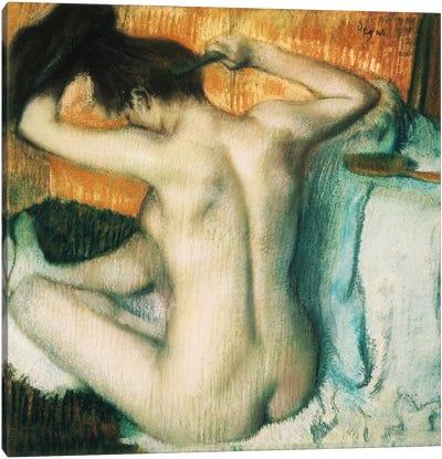 Woman Combing Her Hair Canvas Art Print