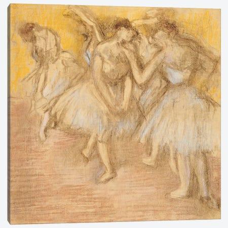 Five Dancers on Stage, c.1906-08  Canvas Print #EDG33} by Edgar Degas Canvas Artwork