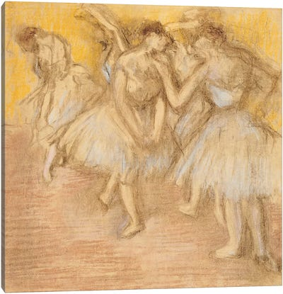 Five Dancers on Stage, c.1906-08  Canvas Art Print