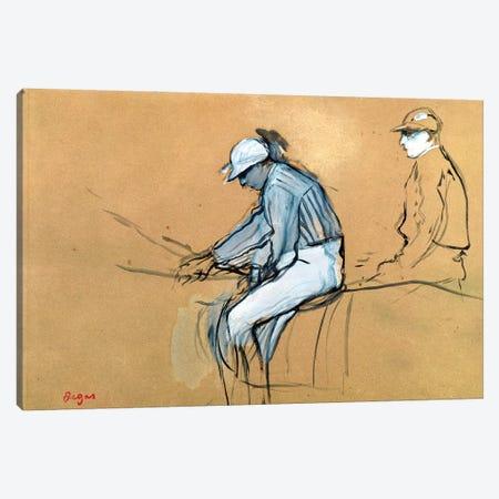 Jockeys  Canvas Print #EDG38} by Edgar Degas Canvas Artwork
