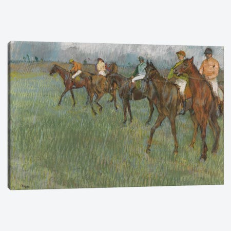 Jockeys in the Rain, c.1886  Canvas Print #EDG39} by Edgar Degas Canvas Wall Art