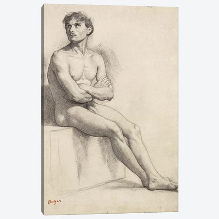 Man Sitting, Nude Study, 1858  Canvas Print #EDG46} by Edgar Degas Canvas Art