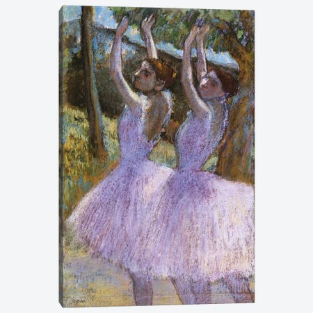 PD.2-1979 Dancers in violet dresses, arms raised, c.1900  Canvas Print #EDG51} by Edgar Degas Canvas Art