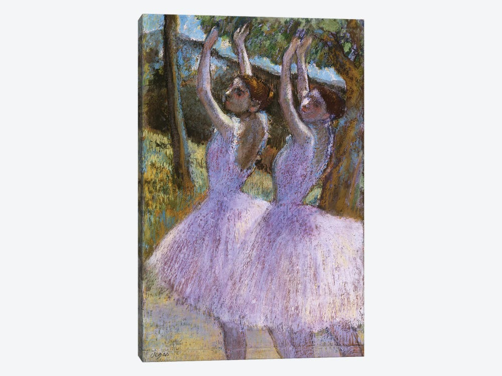 PD.2-1979 Dancers in violet dresses, arms raised, c.1900  by Edgar Degas 1-piece Canvas Art Print