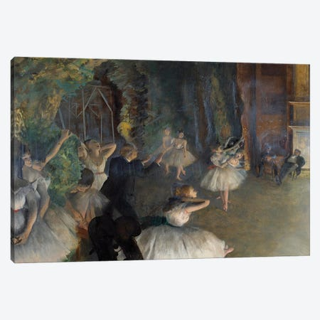 Repetition of a ballet on stage, 1874 Canvas Print #EDG54} by Edgar Degas Art Print