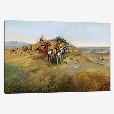 Buffalo Hunt, 1891 Canvas Print #EDG5} by Charles Marion Russell Canvas Print