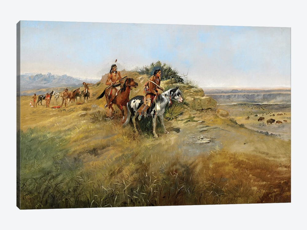 Buffalo Hunt, 1891 by Charles Marion Russell 1-piece Canvas Art