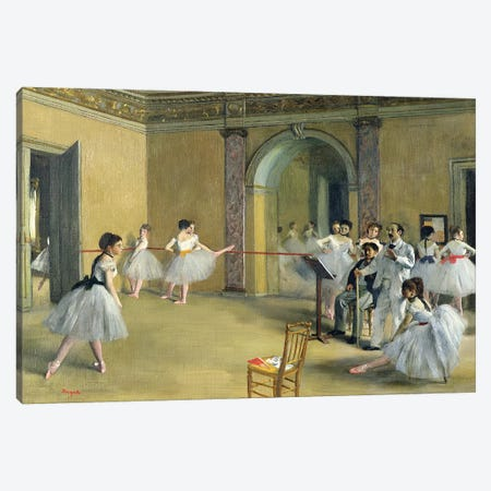 The Dance Foyer at the Opera on the rue Le Peletier, 1872  Canvas Print #EDG63} by Edgar Degas Art Print