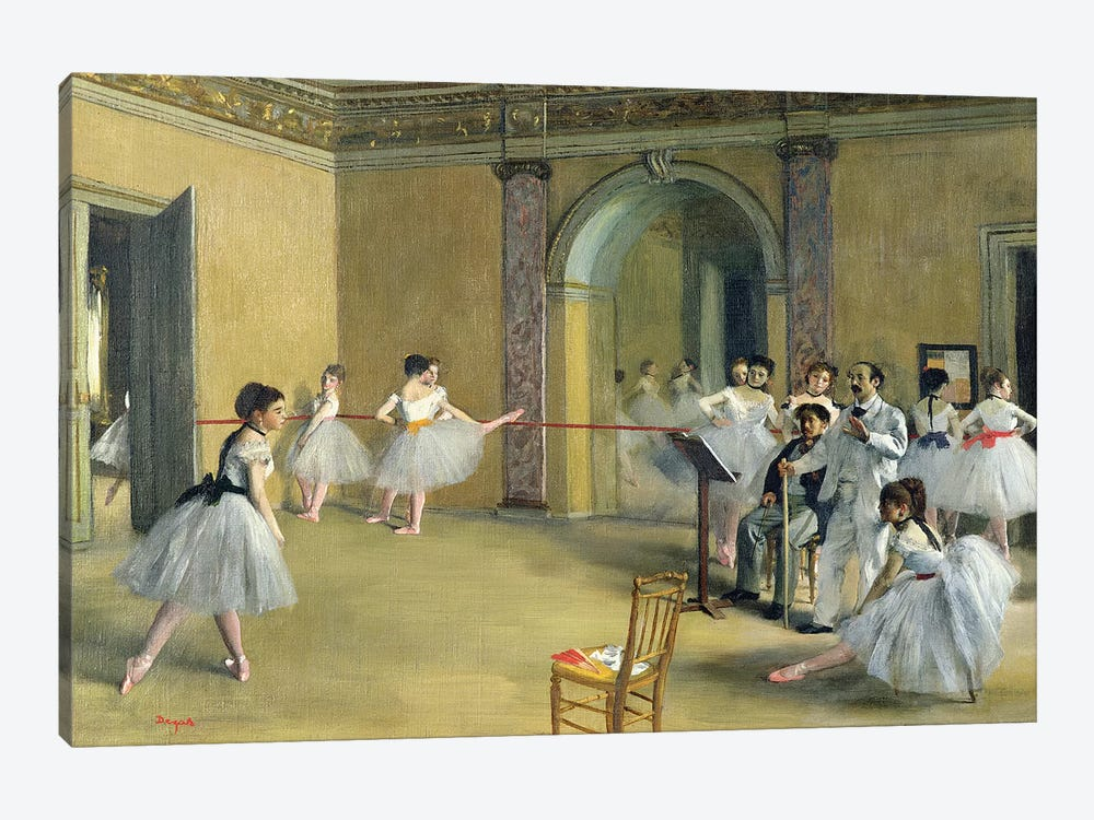 The Dance Foyer at the Opera on the rue Le Peletier, 1872  by Edgar Degas 1-piece Canvas Wall Art
