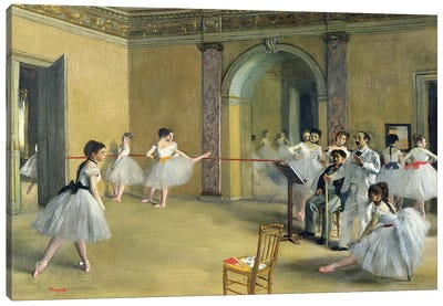 The Dance Foyer at the Opera on the rue Le Peletier, 1872  Canvas Art Print