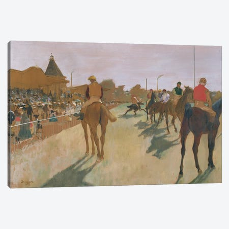 The Parade, or Race Horses in front of the Stands, c.1866-68  Canvas Print #EDG67} by Edgar Degas Canvas Wall Art