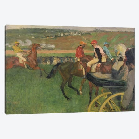 The Race Course - Amateur Jockeys near a Carriage, c.1876-87  Canvas Print #EDG68} by Edgar Degas Art Print