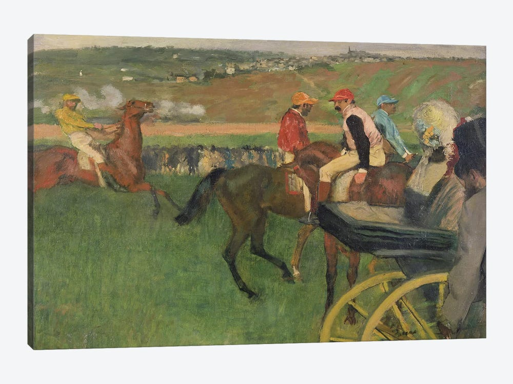 The Race Course - Amateur Jockeys near a Carriage, c.1876-87  by Edgar Degas 1-piece Canvas Art Print
