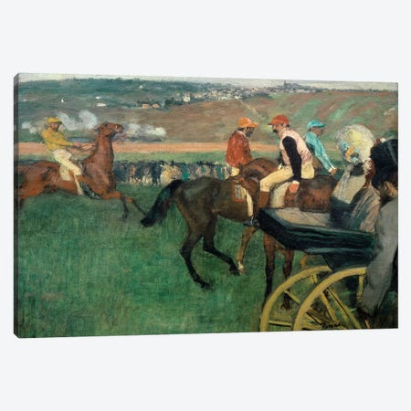 The racetrack, amateur jockeys near a car, 1876-188 Canvas Print #EDG69} by Edgar Degas Canvas Print