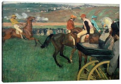 The racetrack, amateur jockeys near a car, 1876-188 Canvas Art Print