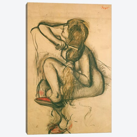 Woman Combing her Hair  Canvas Print #EDG75} by Edgar Degas Canvas Art Print