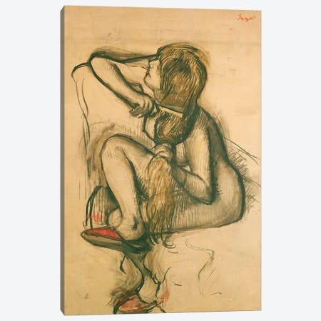 Woman Combing her Hair  Canvas Print #EDG75} by Edgar Degas Canvas Art Print