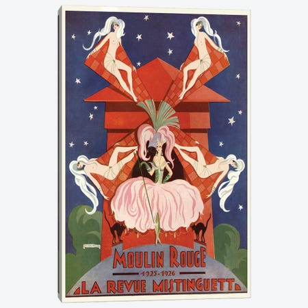 Moulin Rouge La Revue Mistinguett Advertisement, 1926 Canvas Print #EDH1} by Edouard Halouze Canvas Print