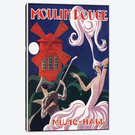 Moulin Rouge Music-Hall Advertisement, 1920s Canvas Print #EDH2} by Edouard Halouze Canvas Print