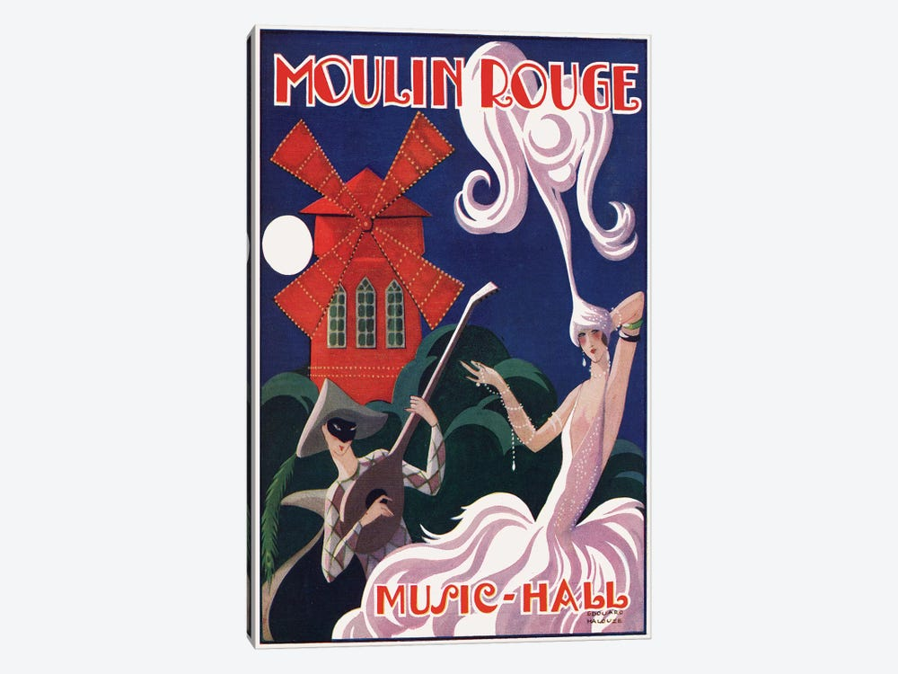 Moulin Rouge Music-Hall Advertisement, 1920s by Edouard Halouze 1-piece Canvas Art
