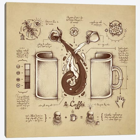 Le Coffee (Fluid Of Creativity) Canvas Print #EDI27} by Enkel Dika Canvas Artwork