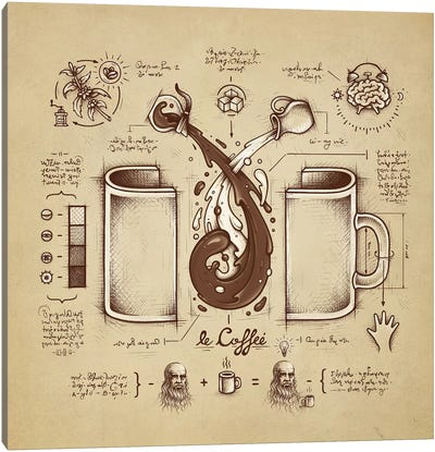 Le Coffee (Fluid Of Creativity) Canvas Art Print
