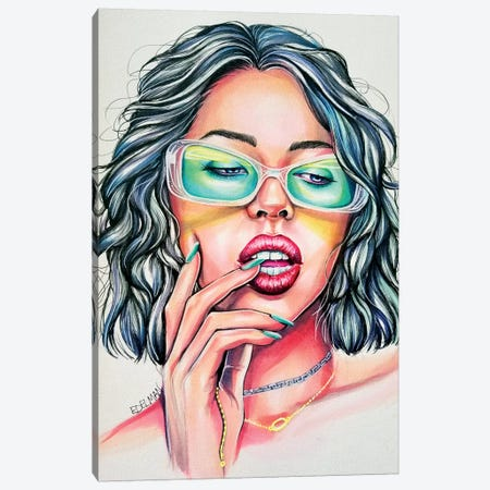Green Shades Canvas Print #EDL14} by Kelly Edelman Canvas Artwork