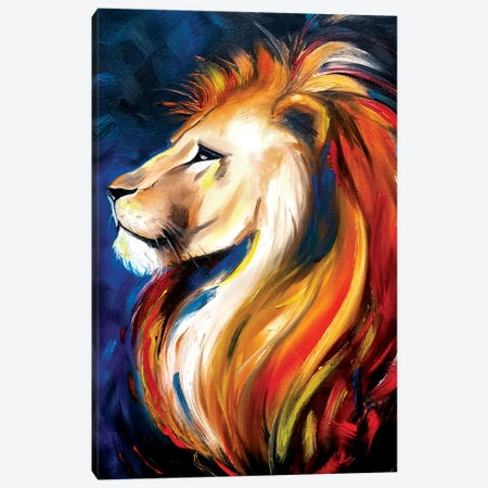 Lion Canvas Print #EDL20} by Kelly Edelman Canvas Wall Art