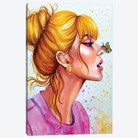 Butterfly Kisses Canvas Print #EDL56} by Kelly Edelman Canvas Art