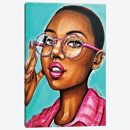 Hot Pink Canvas Print #EDL63} by Kelly Edelman Canvas Artwork