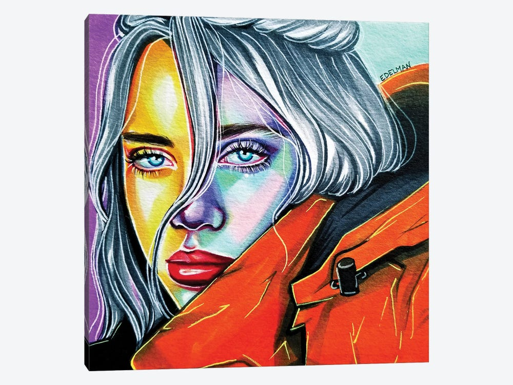 Billie Eilish by Kelly Edelman 1-piece Canvas Artwork