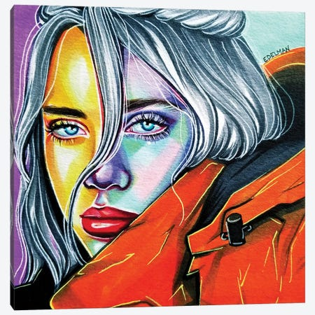 Billie Eilish Canvas Print #EDL71} by Kelly Edelman Canvas Print