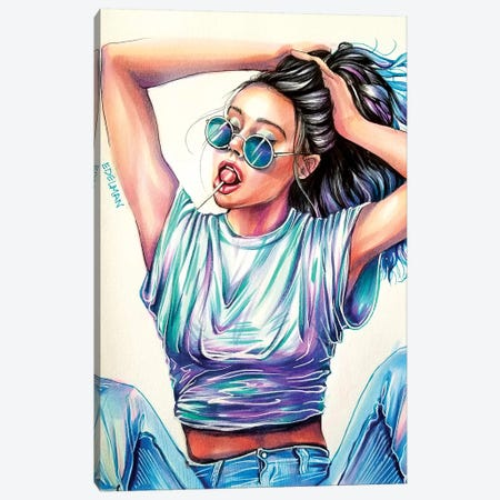 Cool Blue Canvas Print #EDL7} by Kelly Edelman Canvas Artwork