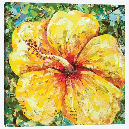 Yellow Hibiscus Canvas Print #EDO18} by Eileen Downes Canvas Wall Art