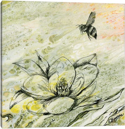 Bee And Magnolia Canvas Art Print