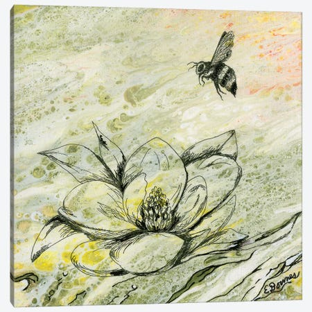 Bee And Magnolia Canvas Print #EDO22} by Eileen Downes Canvas Art Print
