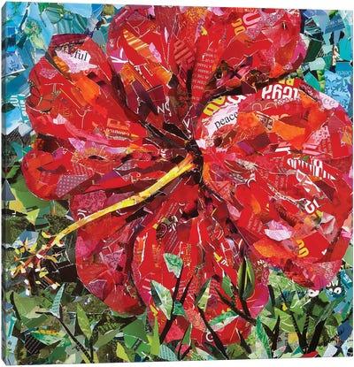 Bright Red Hibiscus Canvas Art Print