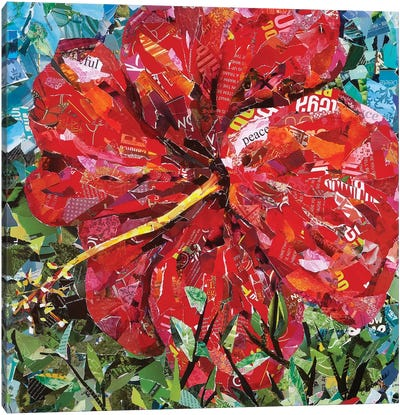 Bright Red Hibiscus Canvas Art Print