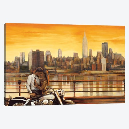 Lovers In New York Canvas Print #EDR1} by Edoardo Rovere Canvas Art