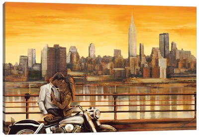 Lovers In New York Canvas Art Print