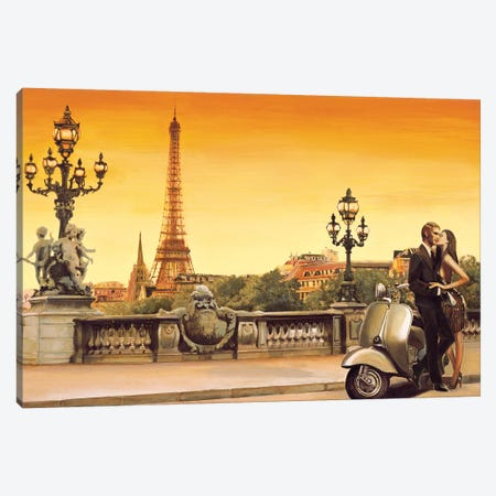Lovers In Paris Canvas Print #EDR2} by Edoardo Rovere Canvas Artwork