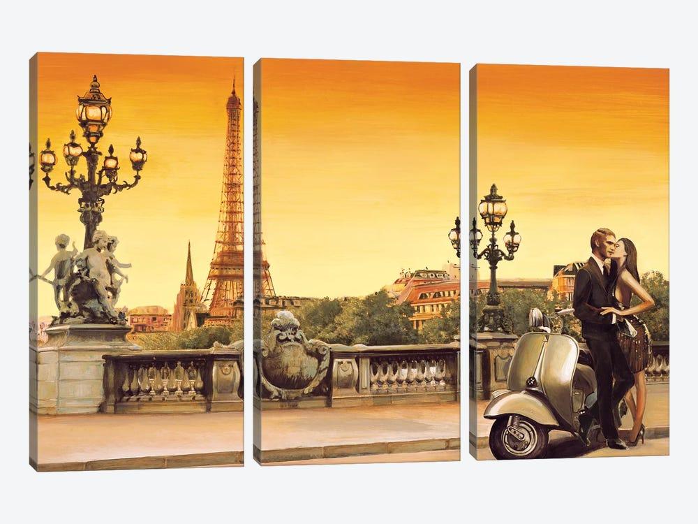 Lovers In Paris by Edoardo Rovere 3-piece Canvas Art