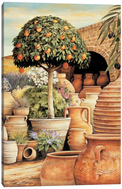 Orange Topiary Canvas Art Print