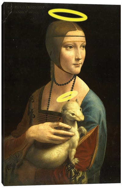 Lady With A Halowed Hermine Canvas Art Print