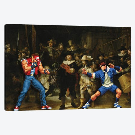 The Real Street Fight Canvas Print #EEE74} by Artelele Canvas Art