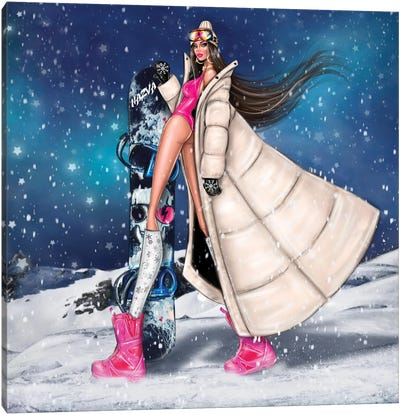 Girl With Snowboard Canvas Art Print