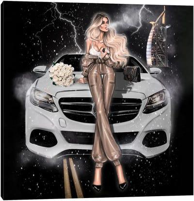 Fashion Girl With Mercedes Canvas Art Print