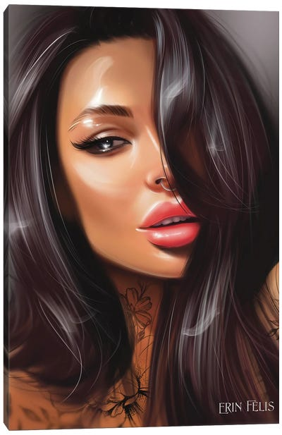 Dark Hair Beauty Canvas Art Print